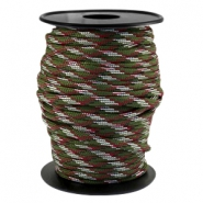 Round trendy 4 mm paracord Army green-aubergine white
