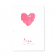 "Jewellery greeting card ""Love"" White-rose red"
