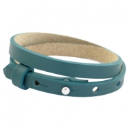 Cuoio bracelets double leather 8mm for 12mm cabochon Night tide green