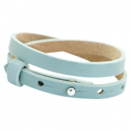 Cuoio bracelets double leather 8mm for 12mm cabochon Powder blue