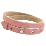 Cuoio bracelets double leather 8mm for 12mm cabochon Dark vintage pink