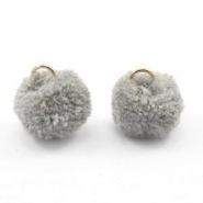 Golden pompom charm with eye 15mm Grey