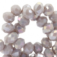 Top faceted beads 8x6mm disc Silver birch grey-diamond coating