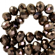 Top faceted beads 8x6mm disc Chocolate brown metallic
