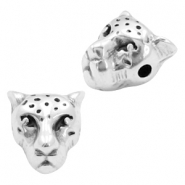 DQ metal beads leopard head 10x9mm Antique silver (nickel free)