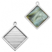 DQ metal square settings with one loop for 12mm cabochon Antique silver (nickel free)