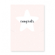 "Jewellery greeting card ""CONGRATS"" Light pink-white"