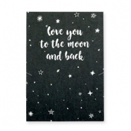 "Jewellery greeting card ""LOVE YOU TO THE MOON AND BACK"" Black-white"