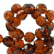Czech faceted beads 14mm Smoked Topaz