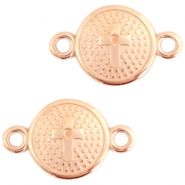 DQ metal charms connector with cross 20X13mm Rose gold (nickel free)