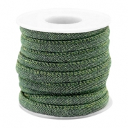 Trendy stitched denim cord 6x4mm Dark green