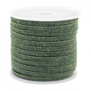Trendy stitched denim cord 4x3mm Dark green