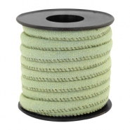 Trendy stitched denim cord 6x4mm Light green