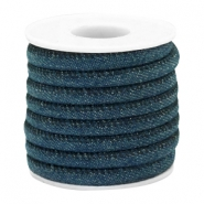 Trendy stitched denim cord 6x4mm Dark royal blue