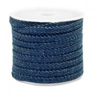 Trendy flat denim cord 5mm Midnight navy blue