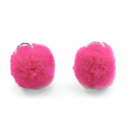 Silver pompom charms with eye 15mm Raspberry wine red