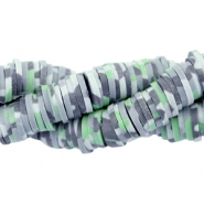 Katsuki beads army print 4mm Grey-green