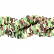 Katsuki beads army print 4mm Green-brown-beige