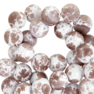 8mm marbled glass beads White-chocolate brown