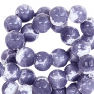 8mm marbled glass beads White-lavender blue