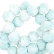 8mm marbled glass beads White-aqua blue