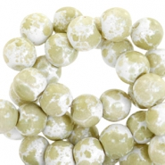 4mm marbled glass beads White-olive green