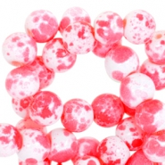 6mm marbled glass beads White-fluor pink