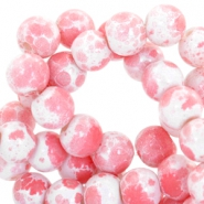 4mm marbled glass beads White-coral pink
