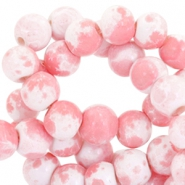 4mm marbled glass beads White-bright pink