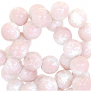 4mm marbled glass beads White-rose