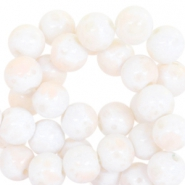 4mm marbled glass beads White-peach creme