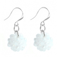 Trendy earrings made of fancy faceted beads Bright white opal-diamond coating