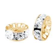Rhinestone crystal rondelle 8mm Gold-crystal