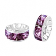 Rhinestone crystal rondelle 8mm Silver-light aubergine purple
