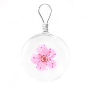 Charms with dried flowers 20mm Bright pink