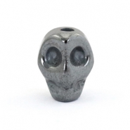 Hematite skull beads Anthracite grey