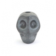 Hematite skull beads Dark grey matt