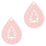 Bohemian drop shaped pendants 20mm Light pink