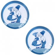 Basic Delft blue cabochon 12mm kissing couple White-blue