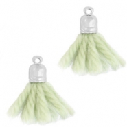 Ibiza style tassels with end cap Silver-sea green