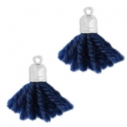 Ibiza style tassels with end cap Silver-dark blue