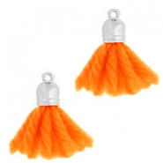 Ibiza style tassels with end cap Silver-fluor orange