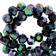 Round top faceted beads 4mm Jet black hematite-diamond shine coating