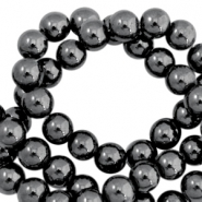 Round hematite beads 10mm  Anthracite grey