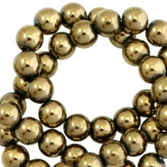Round hematite beads 4mm  Antique gold