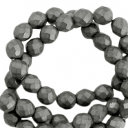 Round hematite beads 4mm faceted cut Anthracite grey