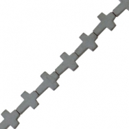 Hematite beads cross matt Anthracite grey