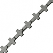 Hematite beads cross Anthracite grey