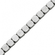 Hematite beads cube 4mm matt Light grey