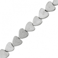 Hematite beads heart 4mm matt Light grey